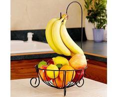 OUNONA Obstkorb mit Bananenhaken aus Metall Ma?e: 41 x 25 x 13cm (schwarz)