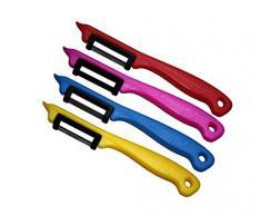 Schwertkrone Obstschäler Pendelschäler Gemüseschäler Sparschäler/Solingen Germany Rechts- und Linkshänder bunt gemischt Set - 4 Stück - Zufällige Farbe