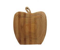 Faltkorb Apfel Bamboo, wunderschöner Klappkorb 30 x 30 cm aus Bambusholz Osterkorb Faltkorb Holzkorb Korb Schale aus Bambus Obstkorb Dekoschale Obstschale Holz faltbar Gemüseschale Obstteller, ideal auch als Untersetzer für