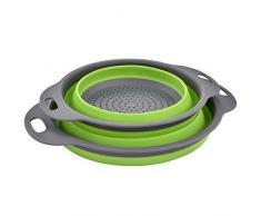 Enko Colander Set, Küche Silikon Faltbarer Seiher / Nudelsieb, Umweltfreundlich Non-Toxic Leicht zu Reinigen, 2 Größe Einschließlich 8 Und 9,5 Zoll. (GRÜN)