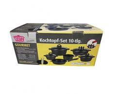 Kochtopf-Set Gourmet Aluminium-Guss 12-teilig Töpfe Pfanne Stielkasserolle Servier-Bräter Aromaknopf Deckel Sparschäler + Bonus