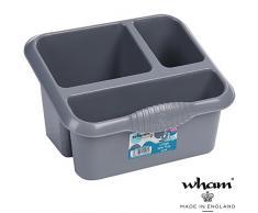 Große Ordnungsbox, 3 Föcher mit Ablauf, 25x20 cm, grau: Küche Sortierbox für Küchenutensilien Halter Utensilienhalter Aufbewahrungs Box