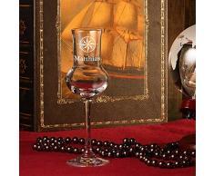 edles Grappaglas 87ml Stölzle Lausitz in hochwertige Qualität - Grappakelch wie mundgeblasen mit Gravur - Motiv eleganter Kompass