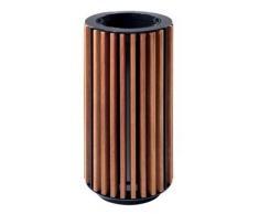 Abfallsammler mit Holzverkleidung Meranti, geölt - geölt - Abfallkorb Abfallkörbe Abfallsammler mit Holzlatten Gartenabfallsammler