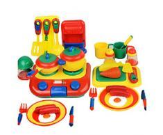 Kinderspiel 38 Sätze von Küchenutensilien zum Kochen Baby Spielzeug ehrlich Blick auf das Spiel (blau)