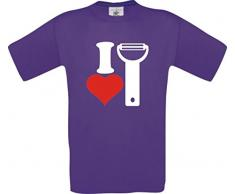 ShirtInStyle Männer-Shirt I Love Kartoffelschäler Essen Kochen Backen, Farbe lila, Größe S