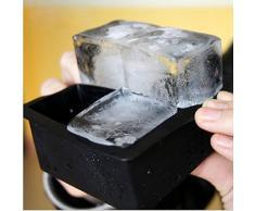 sunshineBoby 1PC 4-Cavity Große Silikon-Getränk-Eis-Würfel-Pudding-Gelee-Seifen-Form-Form-Behälter-Werkzeug/1 Pc Covered Ice Cube Tablett Set mit 14 Ice Cubes Formen Flexible Rubber Plastic (Schwarz)