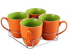 5-tlg. Tassen-Set mit Ständer - Keramik - 4 Tassen - 550 ml - Teetassen - Kaffeetassen - Geschirr - Tasse - Jumbotasse - Kaffeepott - Becher-Set