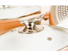 Topfset 10-teilig Keramik Kupfer-Braun / Induktion / Topf / Pfanne / Glasdeckel