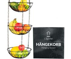 Chefarone Obstkorb zum Hängen - 130cm Küchenampel für mehr Platz auf Ihrer Arbeitsplatte - Obst Hängekorb Küche (schwarz)