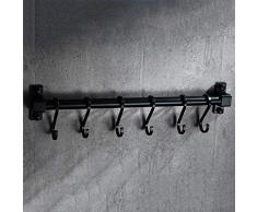 Agaidu Schwarzer Küchenhaken Free Punching / Perforierbar American Wall Hanging Küchenregal Space Aluminium Küchenbedarf Lagerregal Rack ( Size : 40cm )