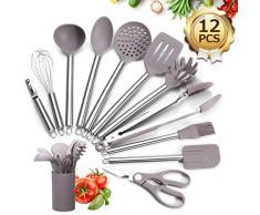 Godmorn Kochbesteck Set,Kochgeschirr 12 teiliges Antihaft Hitzebeständiger und Edelstahlgriff Silikon Küchenhelfer Set mit Pfannenwender,Kochlöffel,Spatel,Küchenschere,Schäler und Aufbewarhung