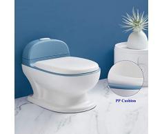 DUWEN Kindertöpfchen mit lebensechtem Spülknopf und Sound Spezialtopf Tragbarer Toilettensitz Leicht zu reinigendes Toilettentraining für Jungen und Mädchen für Kinder im Alter von 0 bis 6 Jahren