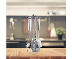 FRX Stylisches 7 TLG. Küchenhelfer Set aus Edelstahl mit Ständer Kochutensilien Küchenutensilien Kochbesteck Kelle Pfannenwender Schaumlöffel Wender (Edelstahl)