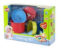 Spielküche Kochtopf Set aus Metall bunt mit Küchenzubehör