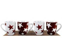 Schönes Tassen-Set (4er) mit roten Sternen aus Porzellan