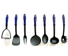 7 tlg. Set Küchenhelfer RÖR Kochbesteck Nylon hitzebeständig bis 210°C (bestehend aus: Stampfer, Pfannenwender, Fleischgabel, Schaumkelle, Gemüselöffel, Suppenkelle und Spaghettilöffel)