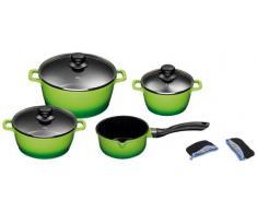 King Aluguss Kochtopfset aus 3 Töpfen mit Deckeln, EIN Stieltopf und 2 Henkelpads, Fusion beschichtet, grün