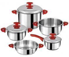 Home Professional Cosmo Set Kochtöpfe und Bratpfannen, Edelstahl/Glas, Rot, 8 Stück