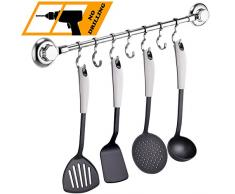 MaxHold Saugschraube Küchenhelfer Hängeleiste 7 Haken, Befestigen ohne Bohren – Edelstahl Rostfre – Küchenutensilienhalter für Küchen & Badezimmer Aufbewahrung