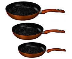 Elegantes Pfannenset in Marmor / Granit / Keramik Beschichtigung Pfannen Set Bratpfanne Grillpfanne Keramikpfanne (Burgund)