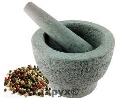 Mörser mit Stößel (massiver Mörser aus Naturstein , Natur belassen, mit Schlegel teil poliert) , iapyx®