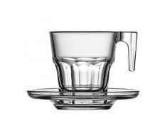 Pasabahce Casablanca Espresso Set / 12-teilig / 6 Tassen mit Henkel / 6 Untertassen / 70 ml/Gehärtetes Glas/Spülmaschinenfest
