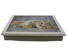 Mars & More Knietablett Katze liegend Laptray Kissentablett Tablett Kissen