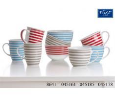 Ritzenhoff & Breker Modern Stripes Becher, 3er Set, Kaffeetasse, Kaffeebecher, verschiedene Farben, Porzellan, 320 ml, 45161