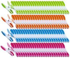 PEARL Wäscheklammer Sets: Extra Starke Wäscheklammern mit Soft-Grip, 200 Stück, in 4 Farben (Wäscheklammern Kunststoff)
