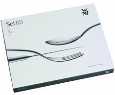 WMF Habitum Besteckset, 60-teilig, für 12 Personen, Monobloc-Messer, Cromargan Edelstahl poliert, spülmaschinengeeignet