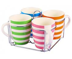 5-tlg. Tassen-Set mit Ständer - gestreift - Keramik - 4 Tassen 350 ml - Teetassen - Kaffeetassen - Geschirr - Tasse - Jumbotasse - Kaffeepott - Becher-Set