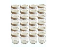 28er Set leere Rundgläser Mini Gläser 53 ml Deckelfarbe Weiss To 43 Sturzgläser Marmeladengläser Einweckgläser Honig, Gläser, Einmachgläser, Portionsgläser, Probiergläser Imker Honiggläser