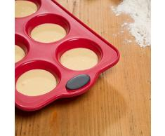 Levivo Muffinbackblech 6er, Silikon Muffin Backform für 6 Muffins oder Cupcakes, Backblech mit Muffinformen in Rot, Cupcake Form 27.5 x 17 cm