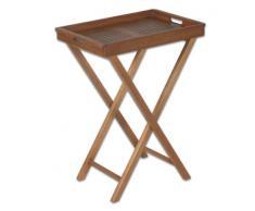 Profiline Servier-Tablett, Akazienholz FSC-zertifiziert, geölt, verzinkte Beschläge, klappbarer Ständer, Größe: 40 x 60 cm, Höhe: 80 cm