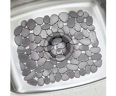 InterDesign Pebblz Spülbeckenschutz, zuschneidbare Abtropfmatte aus Kunststoff für Geschirr, graphitfarben