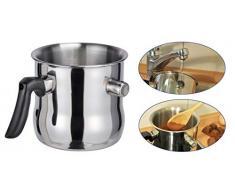 Spetebo Edelstahl Wasserbad- und Simmertopf 1,2 Liter - Milchtopf doppelwandig - Edelstahltopf zum erwärmen von Milch Schmelztopf mit Flötenkessel Funktion