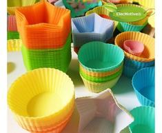 ElecMotive® 20 teilige Silikonform Muffinform Muffinförmchen Backform Kuchenform für Muffins, Brownies, Cupcakes, Kuchen, Eis, Pudding 4 Motive