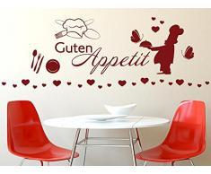 GRAZDesign 770154_57_042 Wandtattoo Küche Guten Appetit mit Koch und Besteck | Wanddeko für Esszimmer | beliebiges Platzieren an die Wand - Schrank (150x57cm//042 flieder)