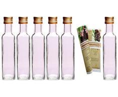 gouveo 24er Set Flasche Maraska 250 ml inkl. Schraubverschluss Gold, Likörflaschen, Schnapsflaschen, Essigflaschen, Ölflaschen