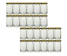 Vorratsgläser-Set mit Schraubverschluss Deckelfarbe Gold | 24 teilig | Füllmenge 107 ml Rundgläser Einmachgläser Marmeladengläser Honig, Gläser, Portionsgläser, Probiergläser, Imker