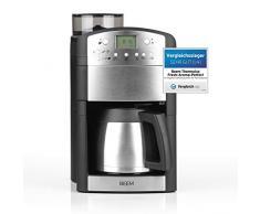 BEEM Fresh-Aroma-Perfect Thermolux   Kaffeemaschine mit Mahlwerk für Kaffeebohnen und Filterkaffee  1,25 l Isolierkanne für 2-10 Tassen   inkl. Permanentfilter und Timer [1000 Watt/silber]