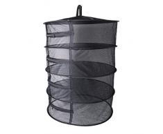 kagnice klappbar 4 Schicht Mesh Dry Net Raumspartrockner für Pflanzliche Bud Pflanze Kleidung 27 x 22.83 (HX Dia. Schwarz
