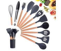 EKKONG Küchenhelfer Set,11 Stücke Silikon Küchenutensilien,mit Holzgriff,Hitzebeständige,Antihaft,Einfach zu säubern,können Hängend,beinhaltet Spachtel,Schneebesen(Schwarz)