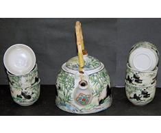 Traditionelles Chinesisches Teeservice mit Pandamotiv und Bambusgriff, 6 Tassen, Geschenkschachtel