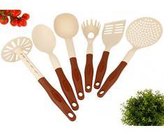 Lantelme KH-6tlg-braun-beige Küchenhelfer Set Hitzebeständig Kunststoff bis zu 260 Grad Celcius mit Pfannenwender Spaghettilöffel Kartoffelstampfer