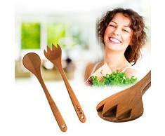 Uulki® 2-tlg. Kirschbaumholz Salatbesteck - Umwelfreundlich, in Europa hergestellt - Salatlöffel und Salatgabel Länge 33 cm