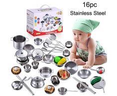 FORH Kinder Geschenk 16 Stücke Set Kinder Spielhaus Küche Spielzeug Kochgeschirr Kochutensilien Töpfe Pfannen