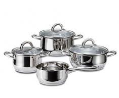 Linnuo Topfset Induktion - 4 Töpfe & 3 Glasdeckel - Kochtopf Set aus hochwertigem Edelstahl - Topf mit hohlem Griff - Nicht heiß beim Kochen - ideales Kochset für kleine Küchen (7tlg. Set)
