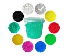 Trendfinding 1 Liter Eimer aus Kunststoff mit Deckel Deko Hydro Wasser Perlen Kugeln künstliche Blumenerde Aquaperls Aqualinos zum Dekorieren (Kristall_XL)